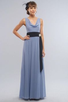 A-Line Curved Neckline with Ribbon Floor Length Chiffon Bridesmaid Dress Prom Dresses 2015, Prom Dresses Online, Cheap Prom Dresses, Cheap Wedding Dress, Wedding Party Dresses, Long Dresses, Evening Dresses, Formal Dresses, Steel Blue Bridesmaid Dresses