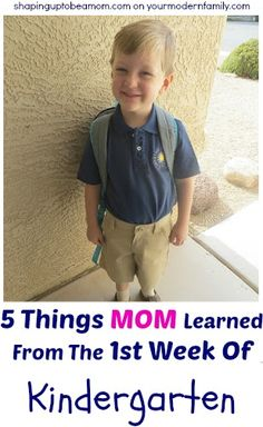 What mom needs to know for the first week of Kindergarten....