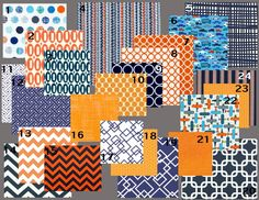 #2 fabric for crib skirt | Modern Navy and Orange Modern Baby Bedding Crib Set by modifiedtot