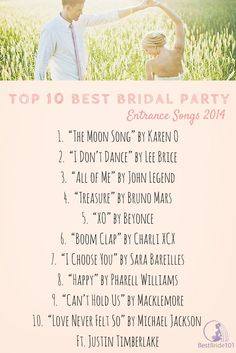 Bridal Party Entrance Songs - Top 10 #bridal #entrance #songs for 2014 but still good for any time! ♥ Look like a diva on your wedding day with airbrush makeup.  Check out the best Top 10 brands here:  http://thebestairbrushmakeup.com/