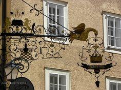 Ornate metal sign in Salzburg, Austria on Shutterbug Traveler