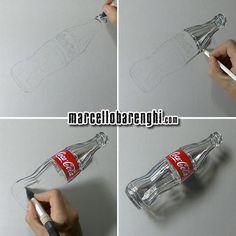 Coca-Cola Drawings  by Marcello Barenghi: hyperrealistic drawing of an empty bottle of Coca-Cola. Hiperrealismo, dibujo: botella vacía de Coca-Cola.