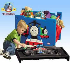 A Tidy playroom Little Tikes toy storage boxes ideas Thomas the train toy box kids furniture chests