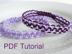 PDF Tutorial Alternating Square Knot Macrame Bracelet Pattern, Single & Two Color Adjustable Friendship Slider Bracelet