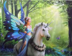 Magickal Realms Wall Plaque Art Print | Anne Stokes Unicorn Faery Dragon Fantasy