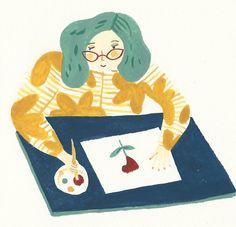 pintando, ilustración de Josefina