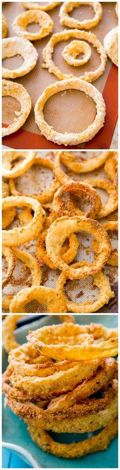 The tricks for CRUNCHY baked onion rings at home! Find the recipe on sallysbakingaddiction.com