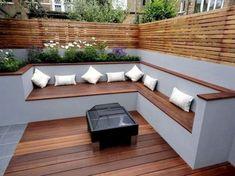 The modern wooden garden bench fits any G – garden design ideas Fire Pit Seating, Backyard Seating, Small Backyard Landscaping, Small Patio, Backyard Patio, Patio Stone, Flagstone Patio, Patio Table, Landscaping Ideas