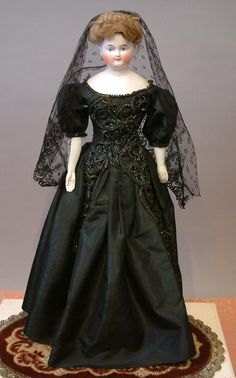 "RARE 18"" Biedermeier c.1840-50 in Rare Size w/Outstanding Original Braided Wig & Silk Ballgown"