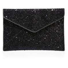 Rebecca Minkoff Leo Glitter Clutch ($95) ❤ liked on Polyvore featuring bags, handbags, clutches, anthracite, apparel & accessories, rebecca minkoff handbags, glitter clutches, rebecca minkoff, glitter handbags and envelope clutch bag