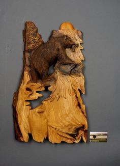 Bear Carved on Wood Wood Carving with Bark Hand Made by DavydovArt