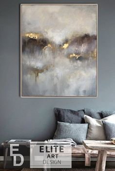 Large oil painting original canvas gray painting gold painting of contemporary a. - Large oil painting original canvas gray painting gold painting of contemporary art abstract oil pai - Art Painting Tools, Painting Edges, Oil Painting Abstract, Acrylic Painting Canvas, Abstract Wall Art, Acrylic Art, Painting Flowers, Blue Abstract, Mandala Painting
