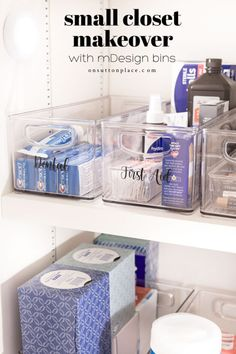 DIY Small Closet Makeover with mDesign Bins | On Sutton Place Kitchen Cupboard Organization, Craft Organization, Bathroom Organization, Easy Shelves, Shelf Bins, Deep Closet, Clear Bins, Diy Cleaning Products, Cleaning Spray