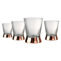 These 4pc Coppertino Double Old Fashion glasses from Artland features a contemporary style stem accent with a copper finish.   Made of hand blown glass, each DOF holds 10oz.   Hand wash only.