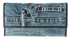 Bijoux De Ja Women Large Blue Denim Money Flap Wallet Wristlet Purse Clutch Handbag >>> Check out this great product. (This is an affiliate link) Diy Clutch, Clutch Purse, Clutch Handbags, Denim Crafts, Blue Denim, Wallet, Purses, Wristlets, Clutches