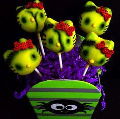 Zombie Hello Kitty Halloween cake pops by NoeyCakes