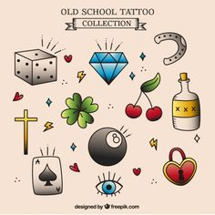Assortment of hand-drawn tattoos Free Vector