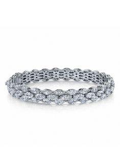 Three-row marquise diamond bangle from Martin Katz Jewels (=)