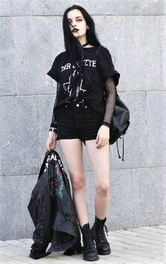 36 Black Outfits Ideas Worth Checking Out : Necklace with graphic printed black tee, jacket, fishnet top, black shorts & combat boots by Dark Fashion, Grunge Fashion, Emo Fashion, Gothic Fashion, Fashion Outfits, Fashion Boots, Lolita Fashion, Grunge Outfits, Edgy Outfits