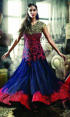 Blue Heavy Anarkali Gown Style Suit-