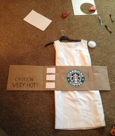 [orginial_title] – Rebecca Hicks DIY Halloween Costume: Starbucks Cup DIY Halloween Costume: Starbucks Cup – Couldn't Get Michael Kors Starbucks Halloween Costume, Homemade Halloween Costumes, Last Minute Halloween Costumes, Halloween 2017, Cute Halloween, Holidays Halloween, Diy Costumes, Costume Ideas, Costume Contest