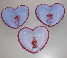 Strawberry Shortcake Childs Kitchen - 3 x HEART BOWLS - Lot 20