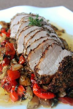 Spice-Rubbed Pork Loin with Ratatouille and Mashed Potatoes