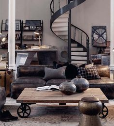 Get inspired with living room ideas and photos for your home refresh or remodel. Wayfair offers thousands of design ideas for every room in every style. Industrial Living, Industrial Interiors, Industrial Design, Modern Industrial Decor, Loft Interiors, Urban Industrial, Industrial Shelving, Dark Interiors, Industrial Style