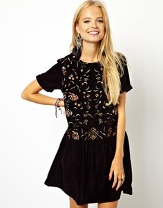Image 1 ofASOS Smock Dress In Velvet With Embroidery