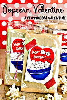 Kids Popcorn valentine Classroom valentine via www.freetimefrolics.com #valentine