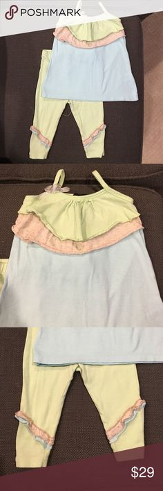 ☀️☀️price drop! ABS Kids girls 2pc set size 18 mos ABS kids adorable mint green / baby blue outfit with ruffle trim on tank top and Capri leggings. 95 cotton/ 5 spandex. Worn once. Perfect condition. Pet / smoke free home. ABS Allen Schwartz Matching Sets