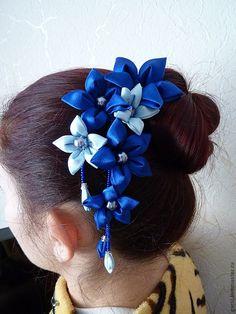 Best 11 Handmade Girl's Flower Bun Wrap/Top Knot, Kanzashi, Black/Purple, School/Party Flower Girl Headbands, Ribbon Headbands, Ribbon Hair Bows, Ribbon Art, Diy Ribbon, Ribbon Crafts, Cloth Flowers, Flowers In Hair, Fabric Flowers