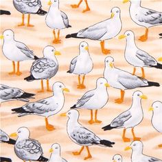 beige seagull animal fabric Timeless Treasures Beach Pass 2