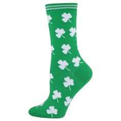 Womens St Patricks Day Socks White Shamrocks Crew Sock #KBell #Casual