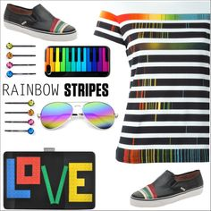 How To Wear Rainbow stripes Outfit Idea 2017 - Fashion Trends Ready To Wear For Plus Size, Curvy Women Over 20, 30, 40, 50
