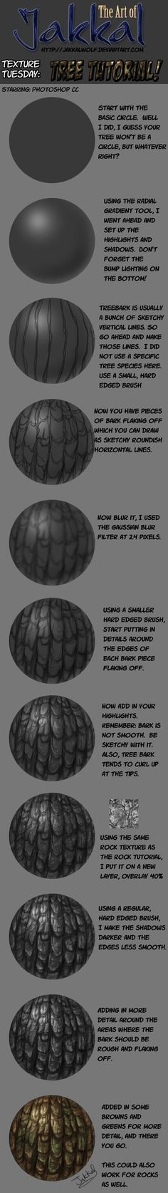 Texture Tuesday: Tree Bark Tutorial by JakkalWolf