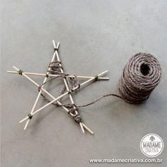Como fazer estrela com palito de churrasco e cordões - Passo a Passo - PAP - Decoração Natalina sustentável e econômica. DIY String stars - sustainable Christmas decor idea.