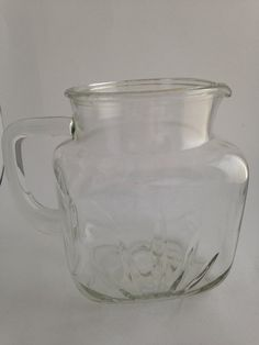 Square Bottom Glass Pitcher with Handle and by WhiteheadandLongley