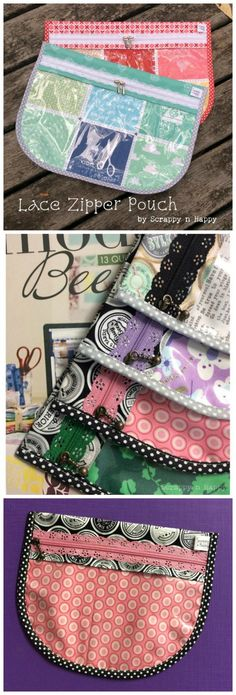 Yummy! Free sewing pattern for a lace zipper pouch. Instructions for fabric and also how to make it with a clear front. Also includes instructions on how to cusstomise the size/shape too. I'm going to use this idea to make pretty bridesmaid clutch bags with the lace zippers.