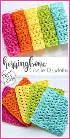 Crochet Dishcloth Herringbone Pattern Knitting TechniquesKnitting For KidsCroche. Crochet Dishcloth Herringbone Pattern Knitting TechniquesKnitting For KidsCrochet Hair StylesCroche Crochet Bows, Crochet Gifts, Free Crochet, Knit Crochet, Dishcloth Crochet, Crochet Dishcloths Free Patterns, Cotton Crochet Patterns, Diy Crafts Crochet, Crotchet