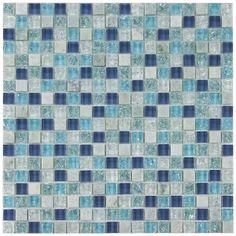 New Bathroom Blue Ocean Master Bath 15 Ideas Stone Backsplash, Mosaic Backsplash, Glass Mosaic Tiles, Stone Mosaic, Blue Mosaic, Backsplash Ideas, Tile Floor Diy, Floor Decor, Stone Tub