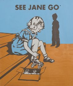 SEE JANE GO /early reader 1950's book art + illustration