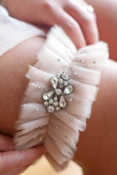 Fabulously glam tulle garter. By Mamie + James via Etsy.