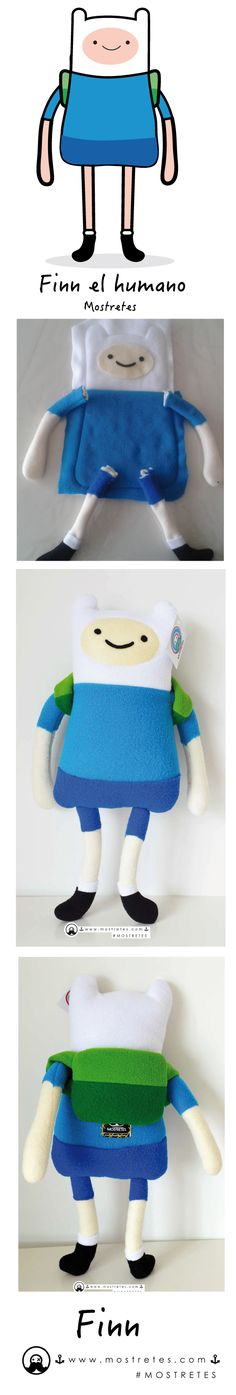 Personaje en Mostretes Finn el humano, peluches personalizados. Tamaño: 43cm x 22cm Hora de aventura Adventure time