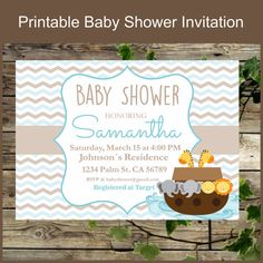 Noahs Ark Baby Shower Printable Invitation / Baby by IsiDesigns