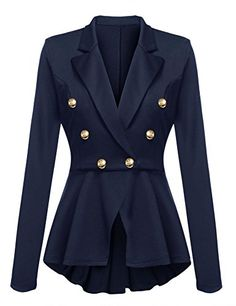 af46dbb2f Goldenfox Women Lapel Long Sleeve Double-Breasted Slim Fit Casual Peplum  Blazer S-XXL
