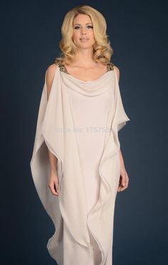 Grecian Goddess Chiffon Mothers Dress With Straps Floor Length ...