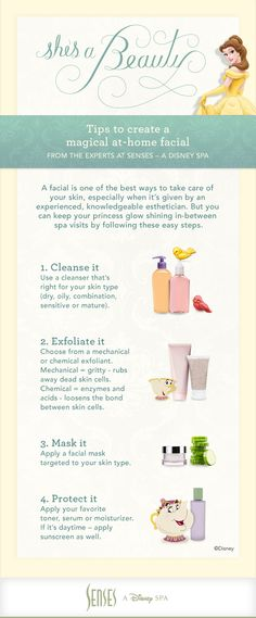 Enjoy these DIY facial tips at home. And for an even MORE magical experience for your skin, come try The Purest Facial on Earth, available only at Senses – A Disney Spa. Call 407-WDW-SPAS to book an appointment. Services subject to change. #DisneyWorld #DIY #Facial #Belle