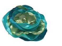 Aqua teal blue, turquoise, apple green flower accessory