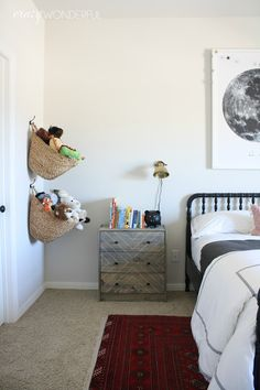 Crazy Wonderful: big boy room | reveal, kid's bedroom idea, vintage modern bedroom, stuffed animal storage, hanging basket storage, RAST hack